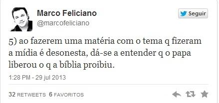 Marco Feliciano chama mídia de ?desonesta? ao repercutir fala de Papa Francisco sobre gays