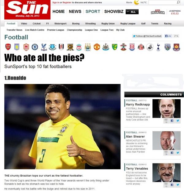 Ronaldo lidera lista de jogadores mais gordos do futebol
