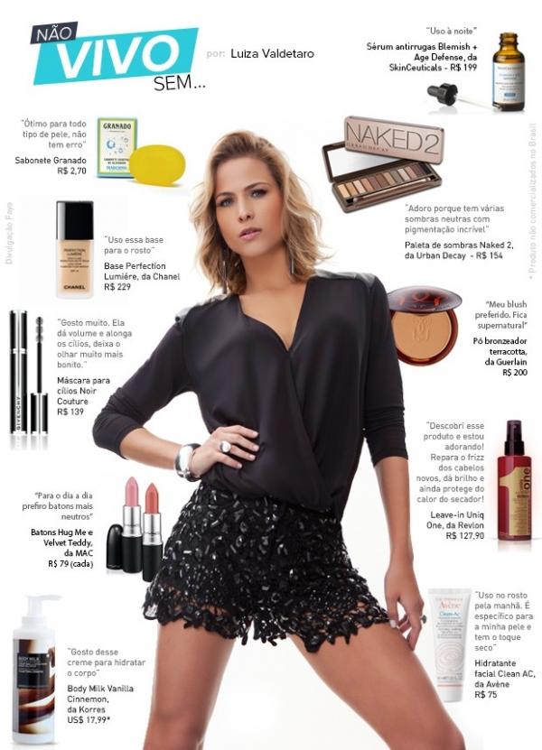 Antirrugas, sabonete, maquiagem: Luiza Valdetaro lista seu