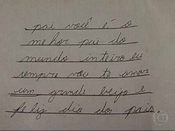 Tio mostra carta que filho suspeito de matar família fez para o pai em 2012