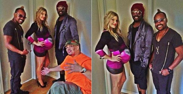 Prestes a dar à luz, Fergie usa vestido apertado durante encontro com amigos do Black Eyed Peas
