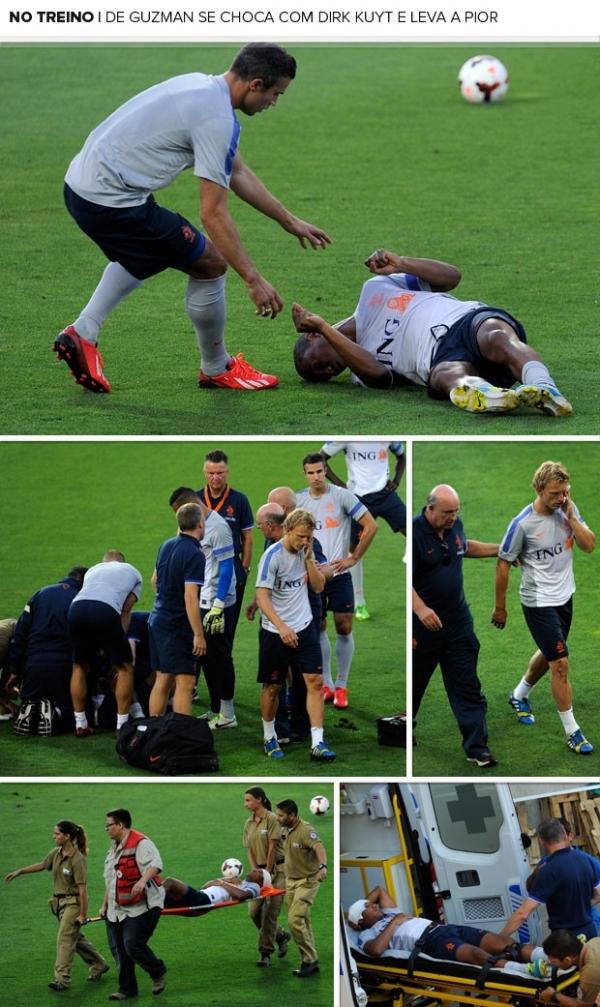 Meia da Holanda se choca com Kuyt em treino e sofre concussão cerebral