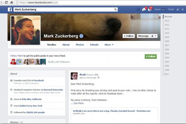Hacker invade perfil de Zuckerberg para provar que há falhas no Facebook