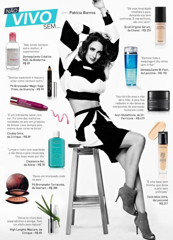 Veja os dez produtos de beleza preferidos da atriz Patrícia Barros