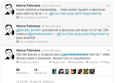 Marco Feliciano faz campanha para retirar vídeo de humoristas do ar e diz no twitter: