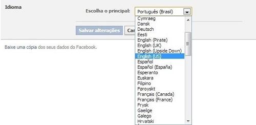 Aprenda como mudar o idioma na rede social Facebook.Veja Passos