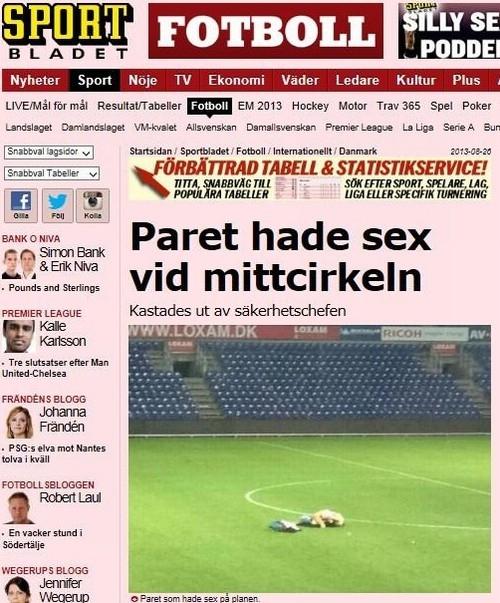 Após jogo, casal faz sexo no gramado de estádio dinamarquês