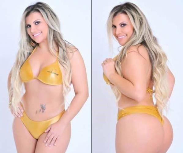 Desclassificada por excesso de peso, Andréa do Valle pretende processar organização do Miss Bumbum