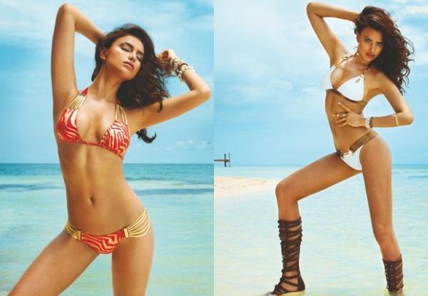 Namorada de CR7, Irina Shayk mostra curvas em ensaio de biquíni