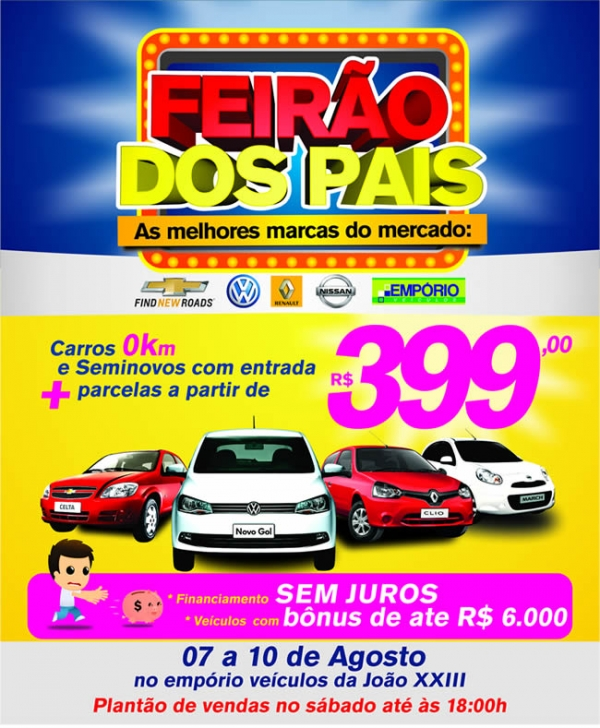 Feirão dos Pais vende carro 0km com parcelas a partir de R$ 399,00 no Empório Veículos