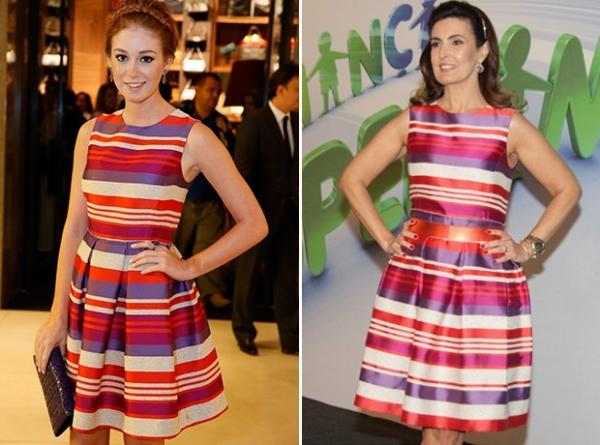 Fátima Bernardes e Marina Ruy Barbosa usam o mesmo vestido