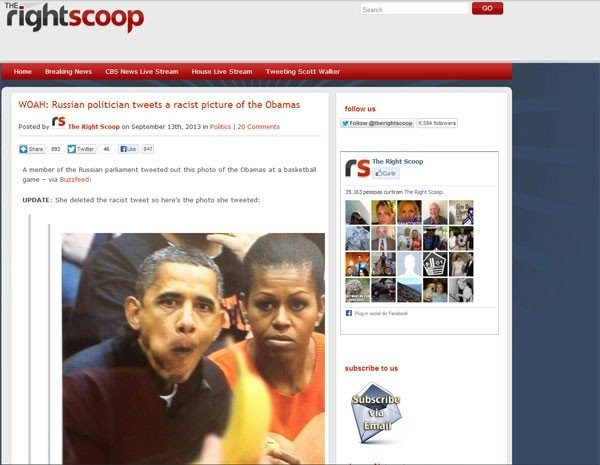 Política russa é acusada de racismo por foto de Obama com banana