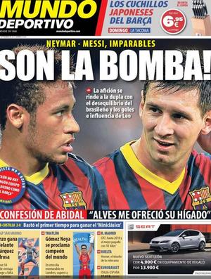 Jornal catalão festeja sucesso da dupla Neymar e Messi: