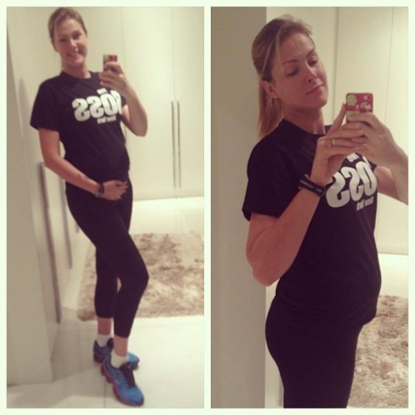 Ana Hickmann mostra a barriguinha de grávida aos quatro meses