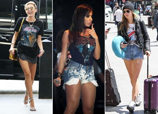 Inspire-se em Rihanna, Miley e Anitta e aposte nas camisetas de banda