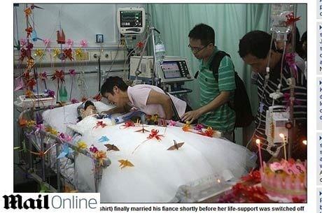 Mulher em coma se casa na China, antes de seus aparelhos vitais serem desligados