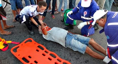 Idoso sofre acidente na BR 343 e fica ferido ; veja fotos