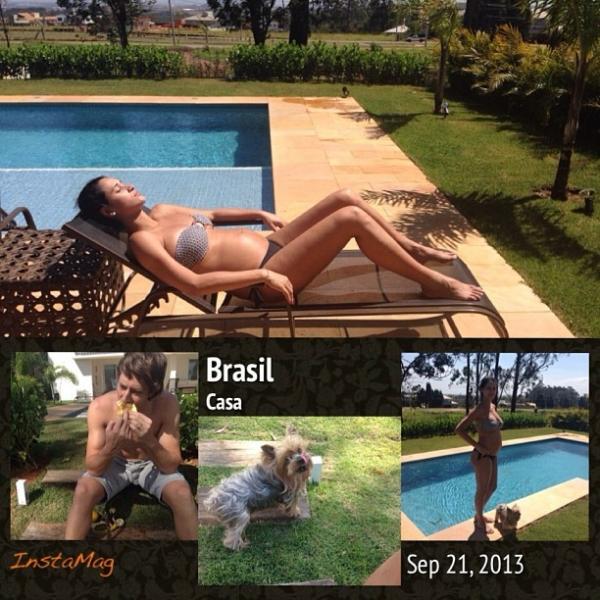 Grávida de cinco meses, Jaqueline pega sol de biquíni e exibe barrigão