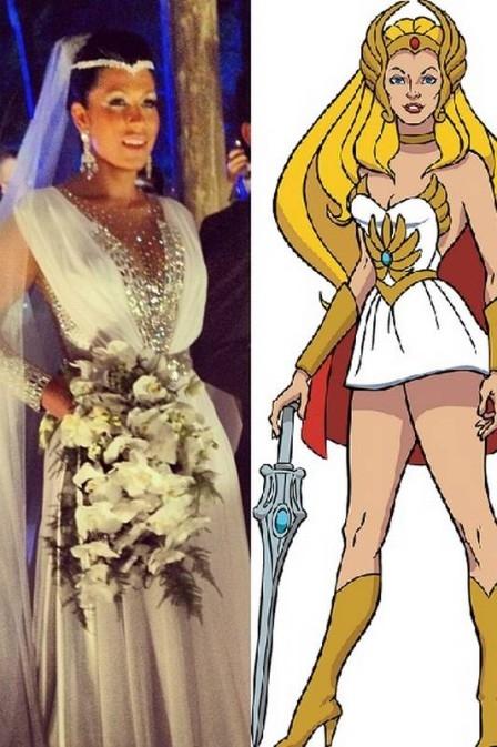 Internautas detonam vestidode noiva brilhoso de Mulher Moranguinho e comparam com She-Ra