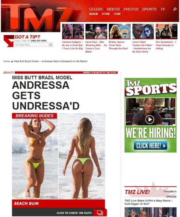 Andressa Urach vira notícia em site internacional ao fazer topless