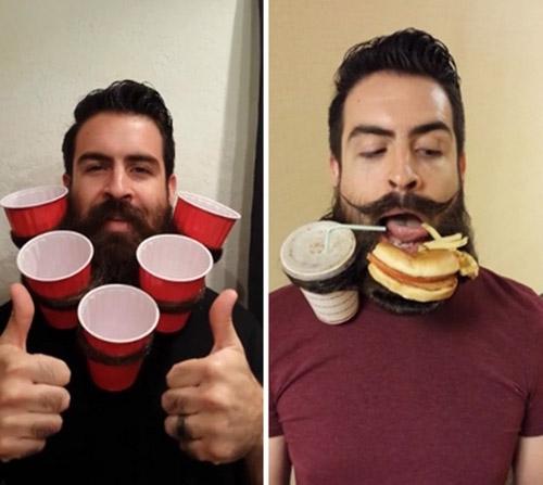 Homem vira hit na web ao utilizar a barba como tigela de macarrão