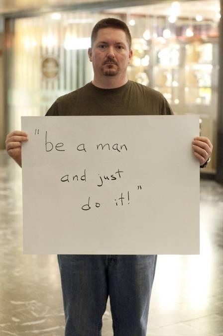 Projeto expõe homens vítimas de abuso sexual e as frases que ouviram dos agressores