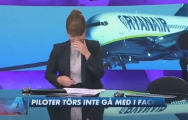 Apresentadora tem ataque de risos durante programa de emissora sueca