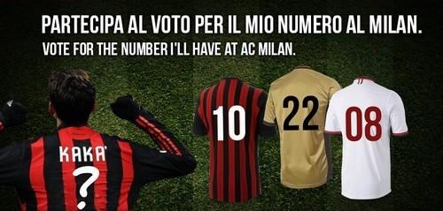 Kaká lança campanha para fãs escolherem seu número no Milan