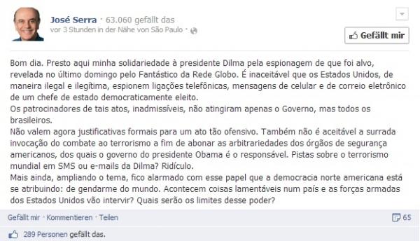 Serra se solidariza com Dilma Rousseff  por causa das denúncias de espionagem norte-americana