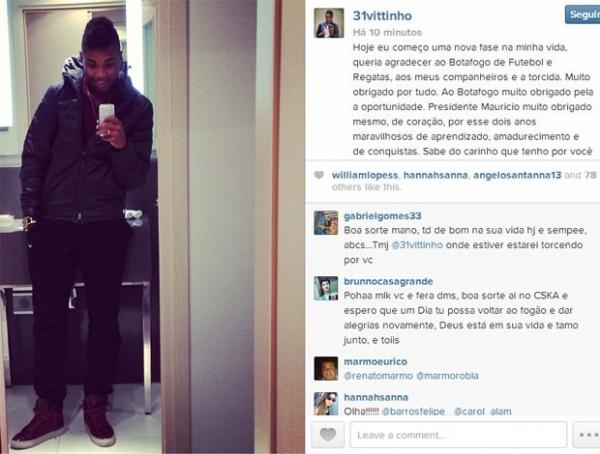 Em rede social, Vitinho promete volta e diz à torcida para acreditar no Bota