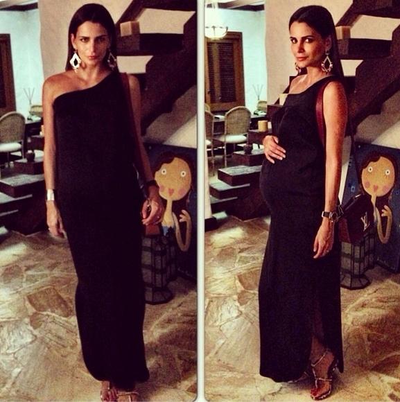 Elegante, Fernanda Motta exibe o barrigão de grávida