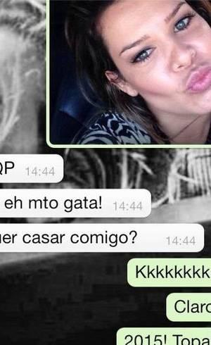 Fernanda Souza mostra conversa com Thiaguinho no whatsapp