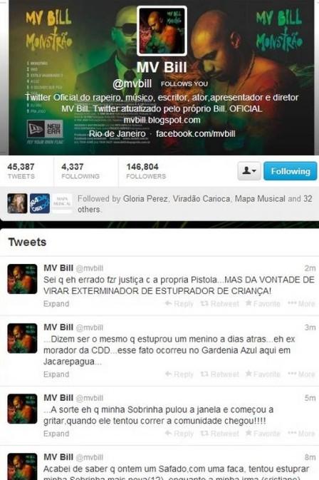 MV Bill usa o Twitter para denunciar tentativa de estupro sofrida pela sobrinha de 12 anos