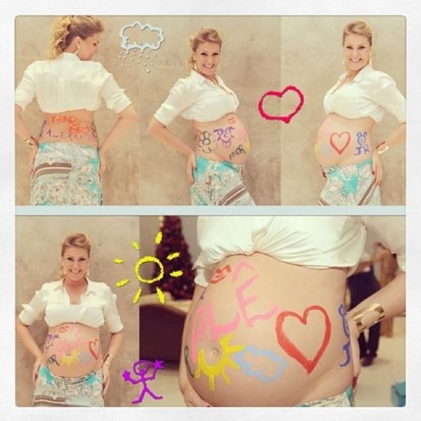 Grávida, Ana Hickmann posa com barrigão de 8 meses