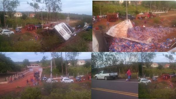 Polícia faz saqueadores devolverem produtos de carreta virada em Geminiano