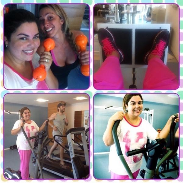 Gordinha, Fabiana Karla mostra rotina de exercícios na academia