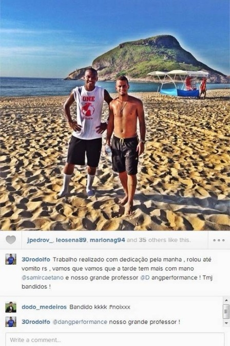 Antes de se reapresentar, dupla do Fla treina no calor do Rio e at passa mal