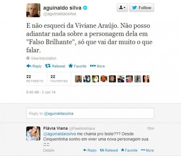 Ex-BBB Fl疱ia Viana pede teste para Aguinaldo Silva em rede social