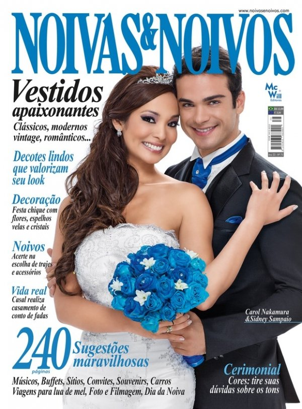 Carol Nakamura e Sidney Sampaio posam vestidos de noivos para revista