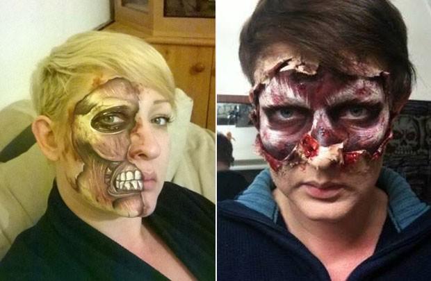 Mulher faz pinturas assustadoras para o halloween usando - Pinturas para halloween ...
