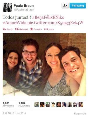Mulher de Mateus Solano posta foto com marido e Fragoso: