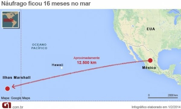 Náufrago chega às ilhas Marshall 16 meses após sair do México