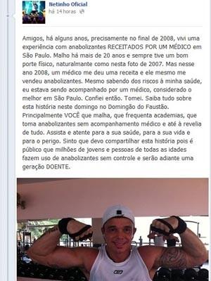 Netinho fala em rede social sobre