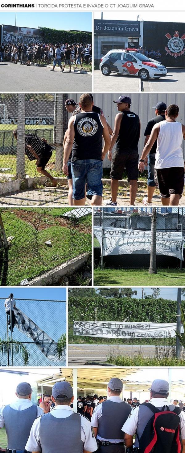 Torcedores invadem centro de treinamento do Corinthians