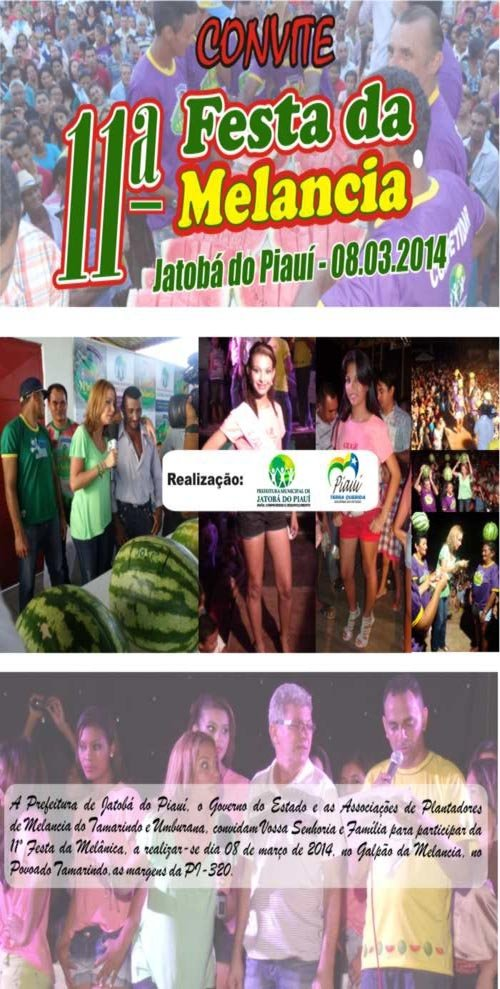 Divulgado convite e programação oficial da Festa da Melancia em Jatobá do Piauí