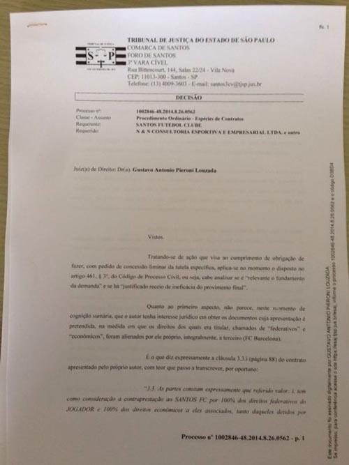 Juiz indefere liminar, e Santos recorre por acesso a contratos de Neymar pai