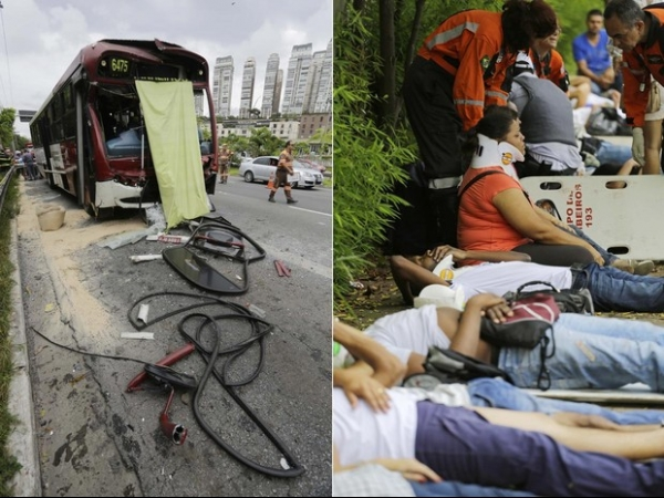 Acidente com dois ônibus deixa feridos na Marginal Pinheiros