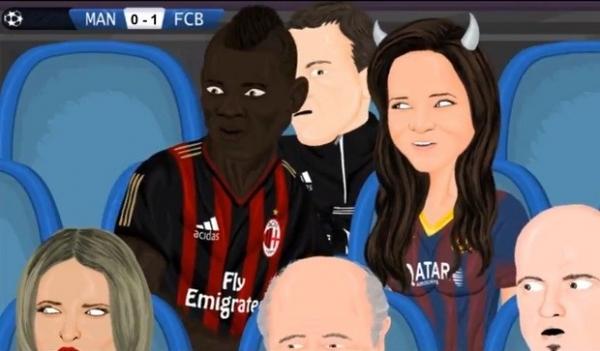 Em animação sobre City x Barça, Balotelli aparece na plateia com Bruna Marquezine
