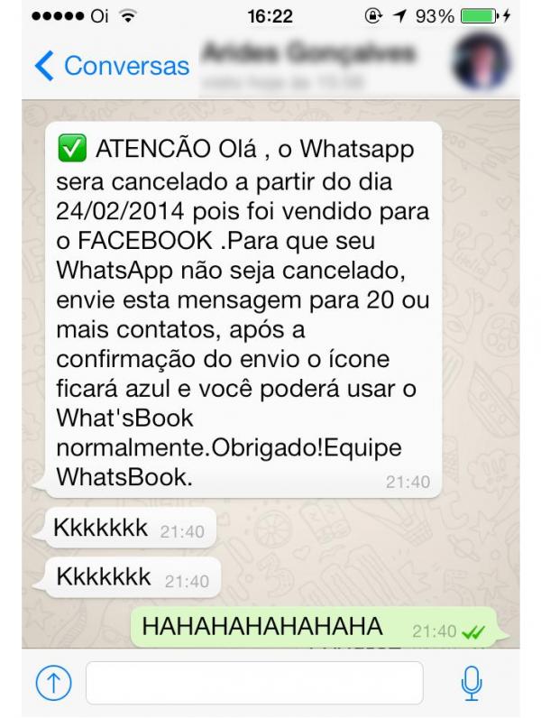 Corrente falsa diz que WhatsApp virou What痴Book e ser cancelado