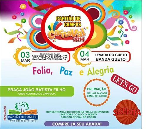 Programação do Carnaval 2014 em Capitão de Campos.